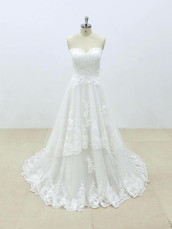 Affordable Sweetheart Lace A-line Unique Wedding Dresses Online, WD392
