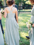 V-neck Mint Green Chiffon Tulle Long Bridesmaid Dresses with Pleats, EPR006