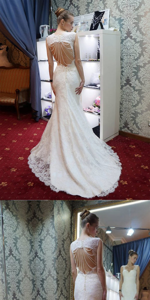 Mermaid Open Back Beaded White Lace Wedding Dresses.Cheap Wedding Dresses, WDY0273