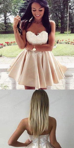 Simple Ivory A-Line Sweetheart Homecoming Dresses With Lace Applique,Short Prom Dresses,BDY0176