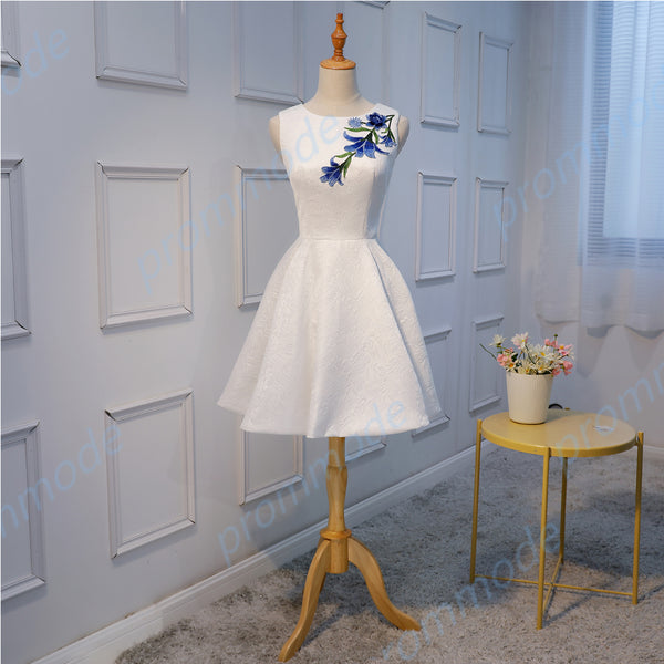 Elegant Satin White Sleeveless Short A-line Homecoming Dress,BDY0162