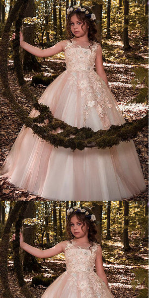Glamorous Tulle Scoop Floor-length Lace Appliques Older Flower Girl Dresses With Flowers & Beadings,FGY0161