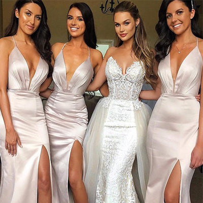 Mermaid V-Neck Sliver Satin Bridesmaid Dress With Split ,Cheap Long Bridesmaid Dresses,WGY0288