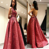 Modest A-Line Sexy Sleeveless Backless Lace Formal Evening Dresses, Appliques Prom Dress  ,PDY0177