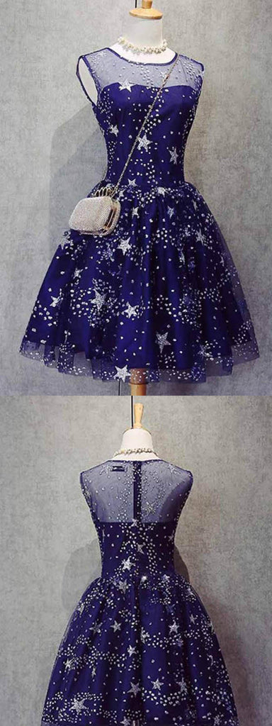 Round Neck Dark Blue Tulle Homecoming Dresses ,Short Homecoming Dresses,BDY0202