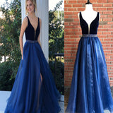 Royal Blue Graduation Dress,Sexy Slit Royal Blue Prom Dress,V-neckline Split Formal Party Dress, PDY0183
