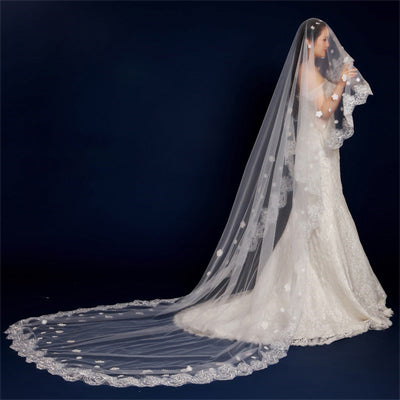Stunning Long Lace Applique Wedding Veil For Wedding Party, WV0101
