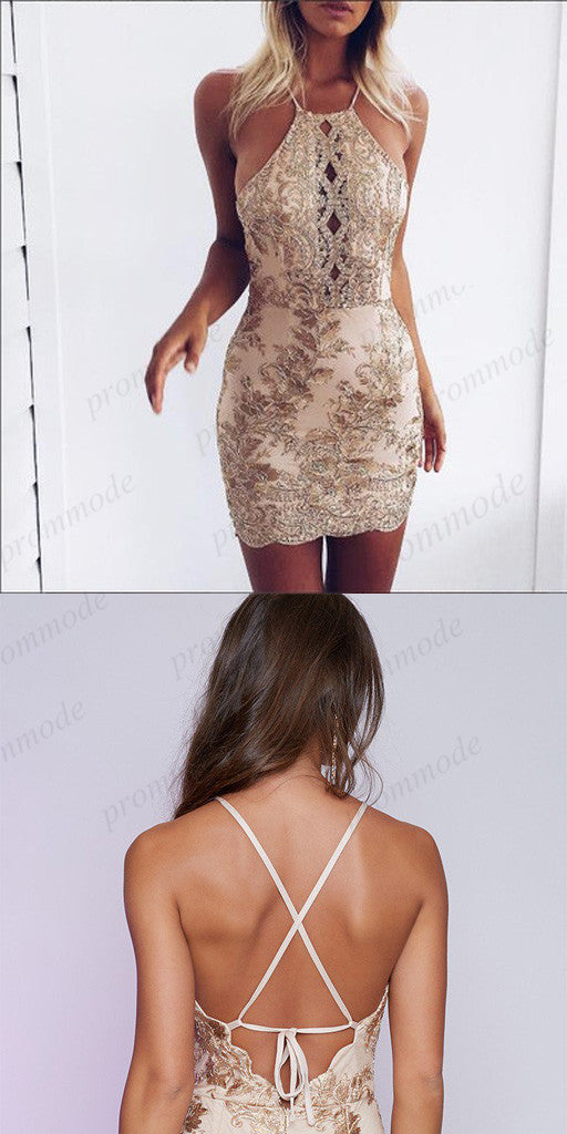 Sexy Backless Gold Lace Applique Homecoming Dresses With Beading,Short Prom Dresses,BDY0183