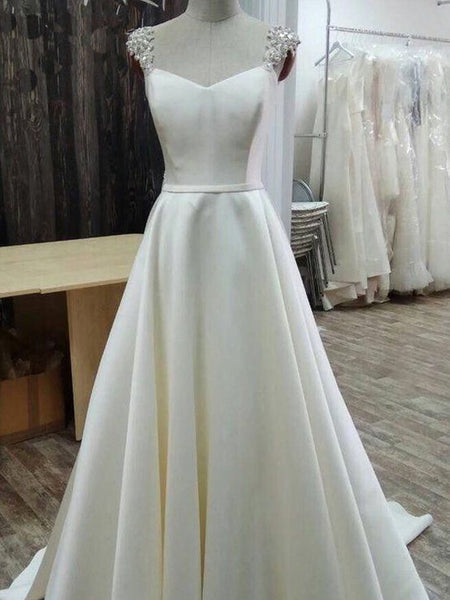 Simple A-line White Satin Long Wedding Dress,Wedding Dresses  WDY0302
