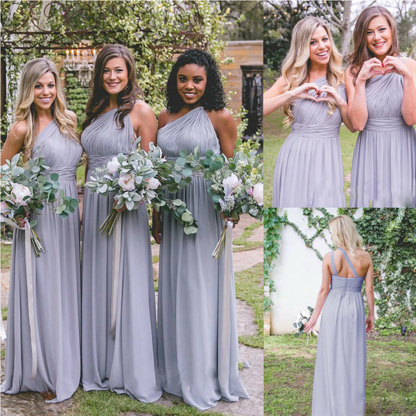 016b3bf617f One Shoulder Chiffon A-Line Floor-Length Bridesmaid Dresses ...