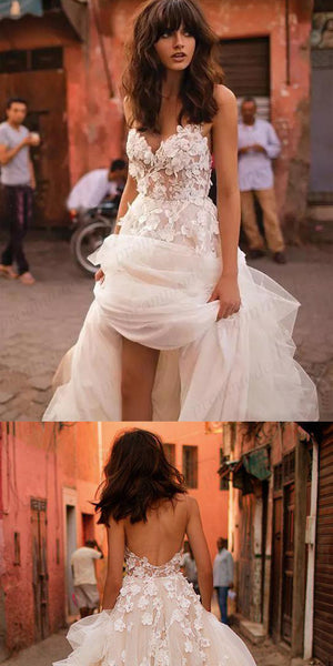 A-line Backless Brush Train Tulle Long Wedding Dresses, Cheap Wedding Dresses, WDY0205