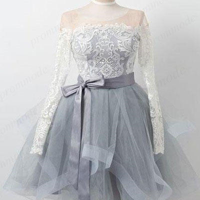 Elegant Long Sleeves Grey Homecoming Dresses ,Short White Lace Homecoming Dresses,BDY0206