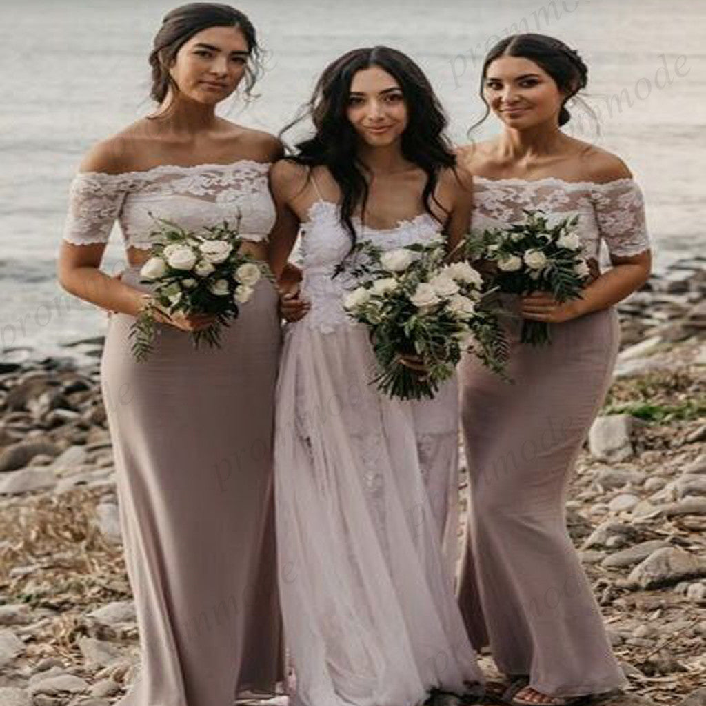 Cheap Two Piece Off-the-Shoulder Light Grey Chiffon Long Bridesmaid Dress With Lace,WGY0223