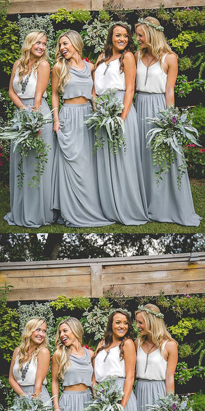 Two Piece Bridesmaid Dresses, Blue Bridesmaid Dresses,Cheap Bridesmaid Dresses,WGY0264