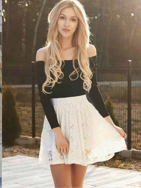 Two Piece Ivory Lace Long Sleeves Homecoming Dress Short Prom