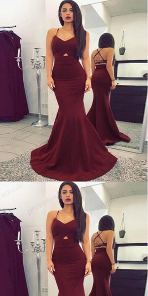 Cheap Dark Red Mermaid Spaghetti Straps Evening Dresses Prom Dresses,Party Dress, PDY0168