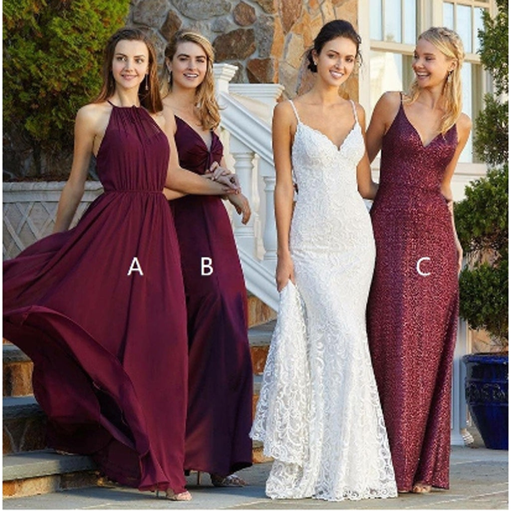 Simple Burgundy Sequin&Chiffon Long Bridesmaid Dresses,Wedding Party Gowns,WGY0252