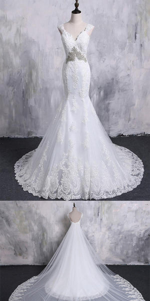 Gorgeous Tulle V-neck Mermaid Wedding Dress With Beaded & Lace Appliques,WDY0186