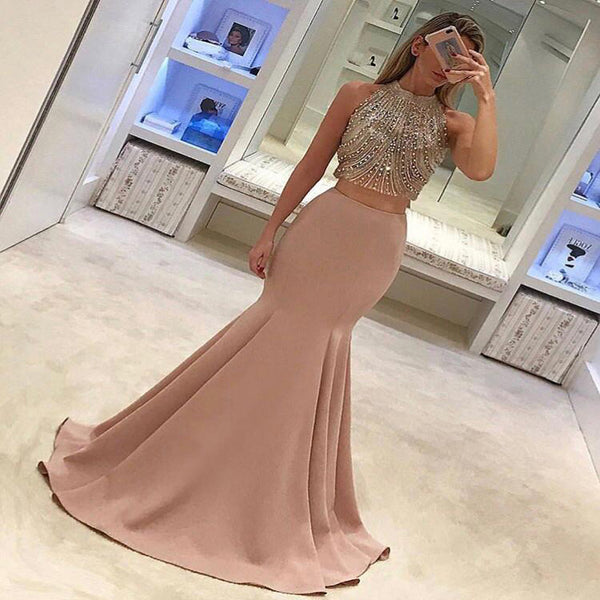 Gorgeous Two-Piece Mermaid Prom Dresses Pink Beads Sleeveless Long Evening Gowns,PDY0182