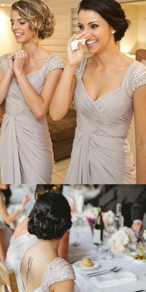 A-line Cap Sleeves Grey Chiffon Bridesmaid Dress ,Cheap Long Bridesmaid Dresses,WGY0290