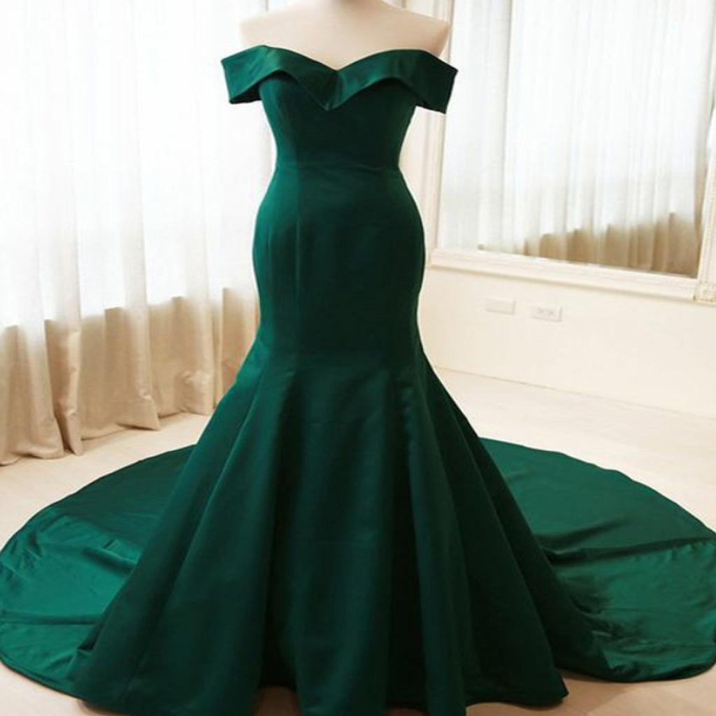 Simple Mermaid Off Shoulder Long Dark Green Satin Formal/Evening Dress With Sweep Train,PDY0202
