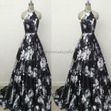 A-Line Halter Sweep Train Black Print Sleeveless Satin Prom Dress,PDY0285