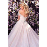 Modest Tulle Off-the-shoulder Pearl Pink Long Prom Dress,Evening Party Dress,PDY0371