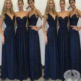 Navy Blue A Line Floor-Length Cheap Bridesmaid Dresses,New Arrival Chiffon Dress, WGY0124