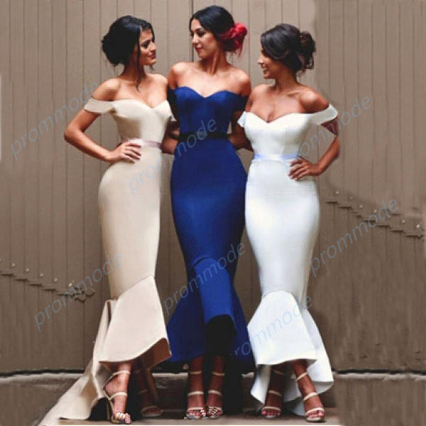 Fabulous Satin Off the Shoulder Hi-Lo Mermaid Ankle-length Bridesmaid Dresses with Belt,WGY0209