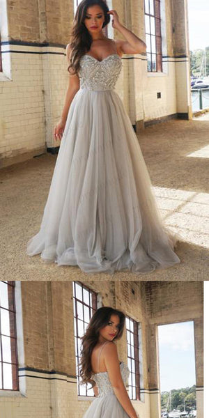 Sweetheart Spaghetti Straps Long Cheap Grey Tulle Prom Dress ,Party Evening Dress ,PDY0204