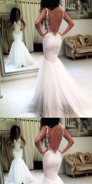 Brilliant Tulle Mermaid Lace Appliques  Wedding Dresses ,WDY0174