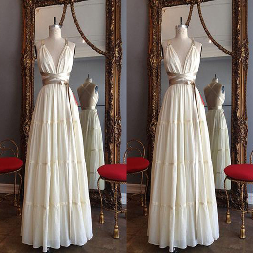Elegant Chiffon Long Cross Back Prom Dress With Golden Sash,Party Dresses, Evening Dresses,PDY0319