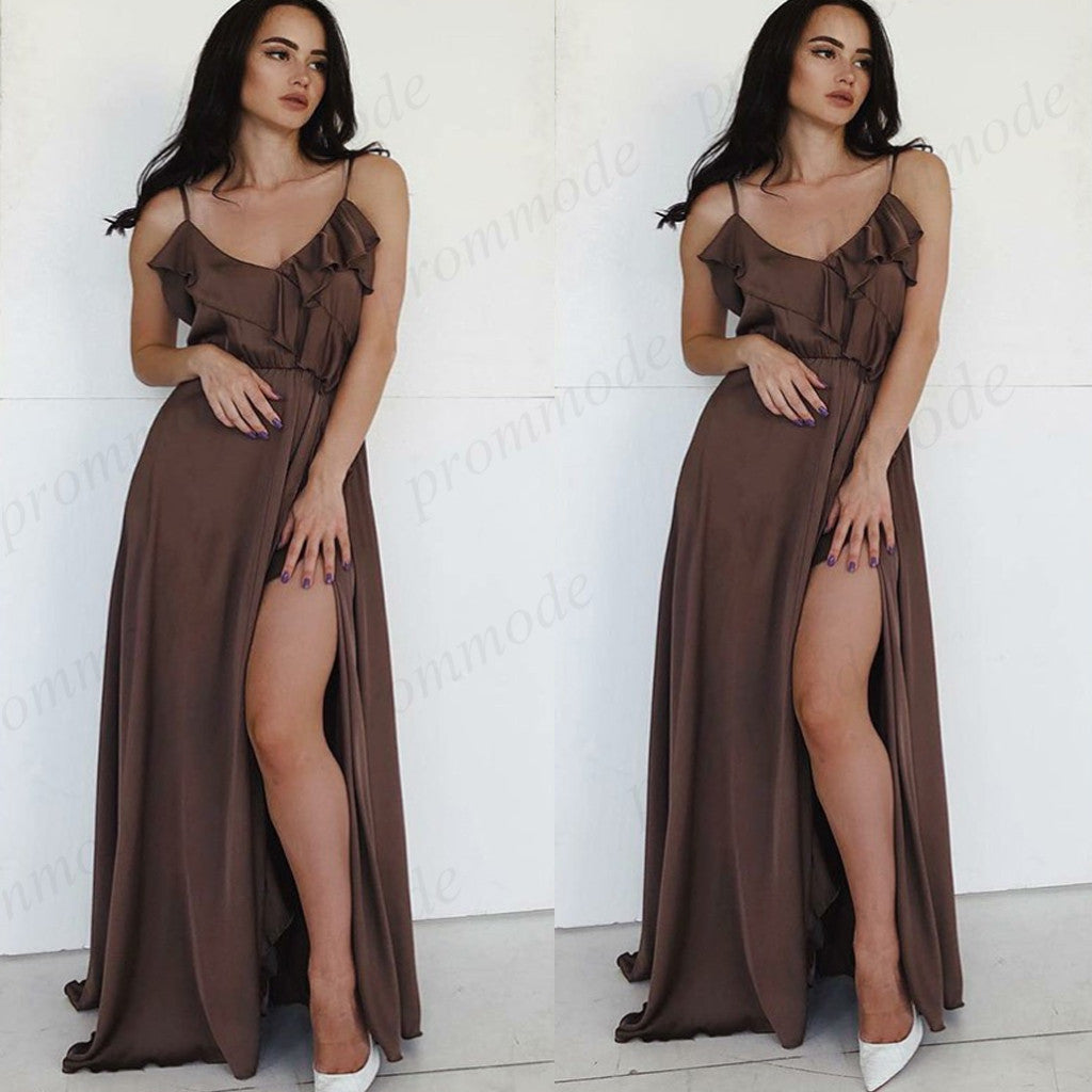 Cheap Spaghetti Straps Chocolate Split Slit Long Bridesmaid Dresses With Ruffles ,Wedding Party Gowns,WGY0257