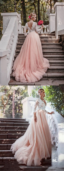 Pink Tulle  V-neck Floor-length White Lace Simple Wedding Dresses, Wedding Guest Dresses WDY0204