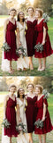 Elegant  Knee-length Dark Red Chiffon Short  Bridesmaid Dresses ,Wedding Party Dresses,WGY0192