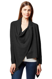 pinned drape front cardigan