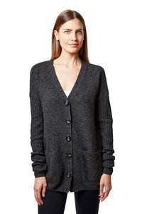 relaxed tuck stitch long cardigan