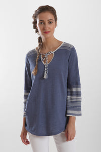 bell sleeve split neck tunic