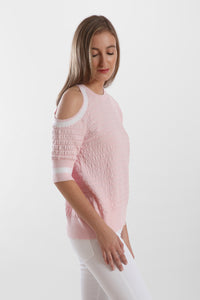 ruched cold shoulder crew neck