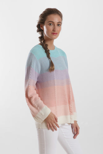 3/4 sleeve ombre stripe cable swing crew