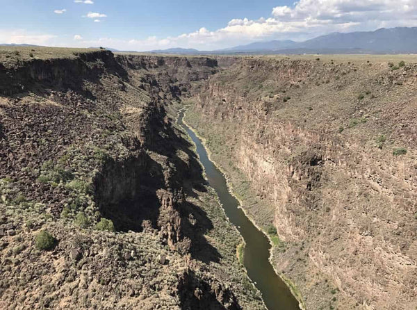 View from the the Rio Grande Gorge Bridge to the west of the museum