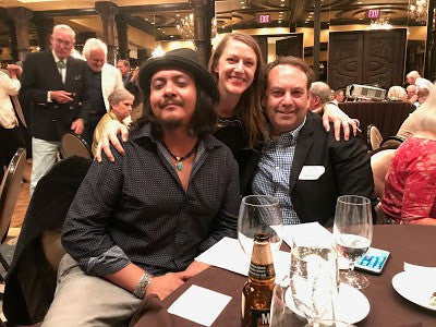 Artist Ira Lujan, Millicent Rogers Museum Executive Director Dr. Caroline Jean Fernald, and Western Art Collector and Native American Art Magazine editor Joshua Rose at the 2017 Turquoise Gala
