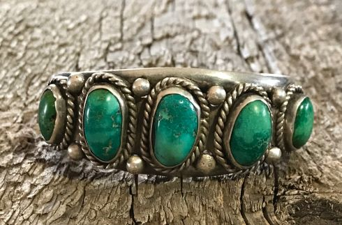 Navajo Cuff with 5 Green Turquoise