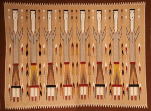 Navajo Yei rug; Brown, orange, pink tones