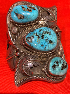Very Large Silver Cuff with Turquoise