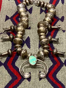 Navajo Silver and Turquoise Squash Blossom