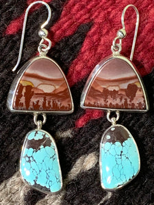 Turquoise and Rhyolite Earrings