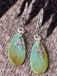 Turquoise Tab Earrings with Charm