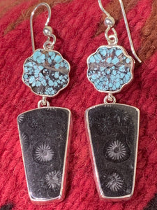 Turquoise and Fossil Earrings