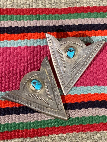 Vintage Silver and Turquoise Collar Tips